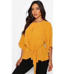 tie front angel sleeve blouse, mustard