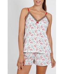pyjama's / nachthemden admas pyjama shorts tank top pink romantic