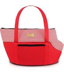 bolsa de passeio para animais domésticos tam. g jacki design pet vermelho