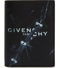 givenchy trompe l'oeil ring logo leather card case in black at nordstrom