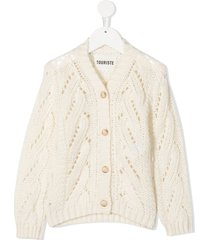 touriste v-neck cable knit cardigan - white