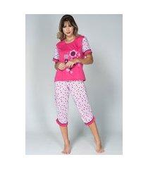 pijama bella fiore modas manga curta pescador rosa