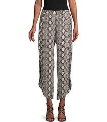 snakeskin-print wide-leg pants