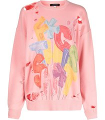 r13 distressed cotton-blend sweatshirt - pink