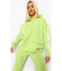 petite gestreepte oversized cargo hoodie, washed lime