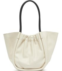 ruched leather tote bag