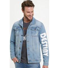 jaqueta masculina jeans puídos bolsos mr