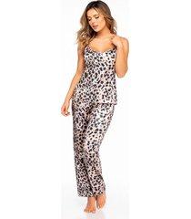 pijama mujer conjunto pant satín cafe 11403-cafe