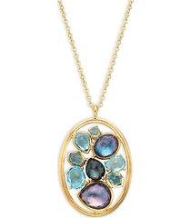 18k yellow gold & multi-stone pendant necklace