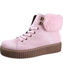botín cuero rosa fagus