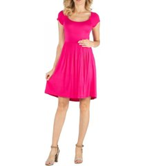 24seven comfort apparel scoop neck babydoll maternity dress with cap sleeves