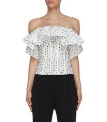 polka dot mesh frill ruffle corset top