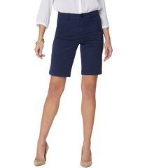 women's nydj stretch twill bermuda shorts, size 12 - blue