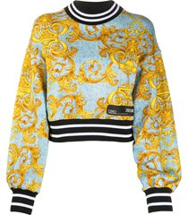 versace jeans couture baroque print sweatshirt - blue