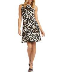 women's karen kane leopard print sleeveless a-line dress
