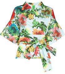 rianna + nina claudia floral print belted jacket -