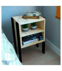mesa de cabeceira/criado mudo natural & colors 3 prateleiras pé vertical único