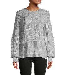 karl lagerfeld paris women's cable-knit crewneck sweater - steel grey heather - size m