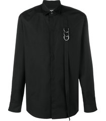 dsquared2 buckle strap detailed shirt - black
