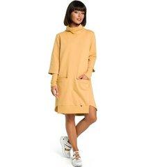jurk be b089 asymmetrische jurk met rolkraag - geel