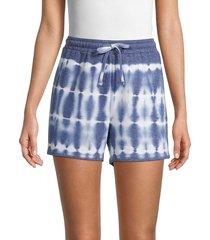 pure navy women's tie-dye shorts - indigo white - size s