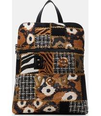square patch backpack - black - u