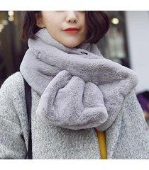 le donne di colore solido caldo artificiale rex rabbit fur collo spesso sciarpa antivento soffice colletto di pelliccia finta