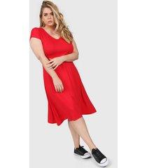 vestido rojo minari bolsillos plus size