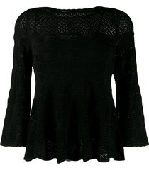 twin-set crocheted knit top - black