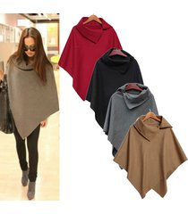 warm winter fashion women batwing cape wool poncho jacket lady cloak coat