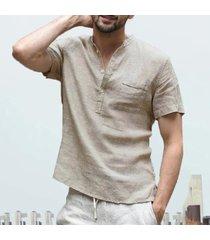 camisa de verano de los hombres nueva moda de manga corta de algodón-beige