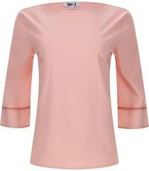 blusa mujer detalle en mangas color rosado, talla 8
