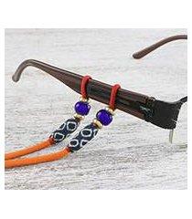 beaded cotton eyeglasses cord, 'focus in orange' (thailand)