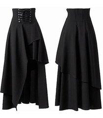 brand new women's gothic style bandage black high waist dress long skirt