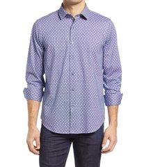 men's bugatchi ooohcotton tech floral dot knit button-up shirt, size large - blue