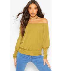 tall off the shoulder rib top, olive