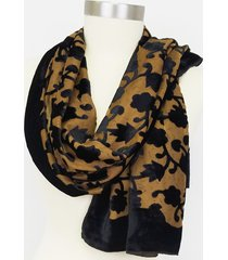 amtal women velvet burnout floral design oversized shawl wrap scarf