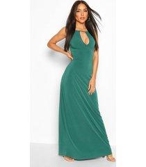 high neck cut out maxi dress, green