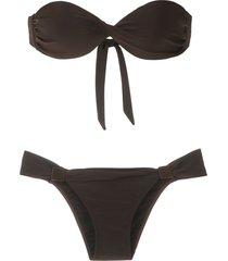 adriana degreas bandeau bikini set - brown