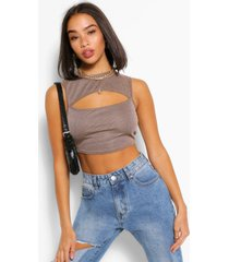 washed rib cut out detail crop top, tan