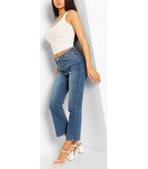uitlopende mid wash jeans met korte pijpen, middenblauw
