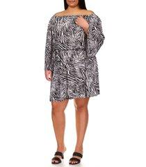 plus size women's michael michael kors zebra print off the shoulder long sleeve dress, size 2x - white