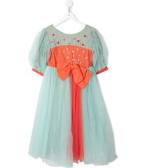 raspberry plum bow-detail embroidered dress - green