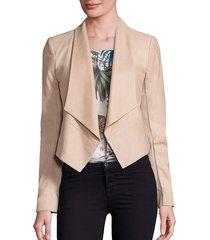 alice + olivia women's harvey suede draped jacket - navy - size l