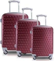 conjunto de mala de viagem 3 peças p, m e g love jacki design viagem vermelha