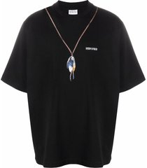 marcelo burlon county of milan single chain feathers t-shirt - black