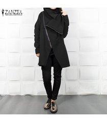 zanzea mujer de manga larga con capucha sudaderas casual turn abajo la capa del collar de la cremallera -negro