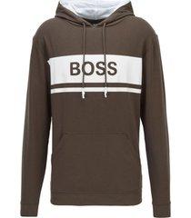 hugo boss logo hoodie - open green