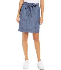 women's caslon tie waist utility skirt, size large - blue
