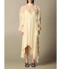 n° 21 dress n°21 midi dress in chiffon with flounces